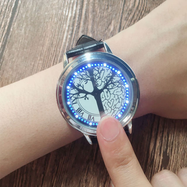 Cool Design Mens Watches Stainless Steel Leather Quartz Touch Screen Smart Electronic montre homme LED WristWatches for Men