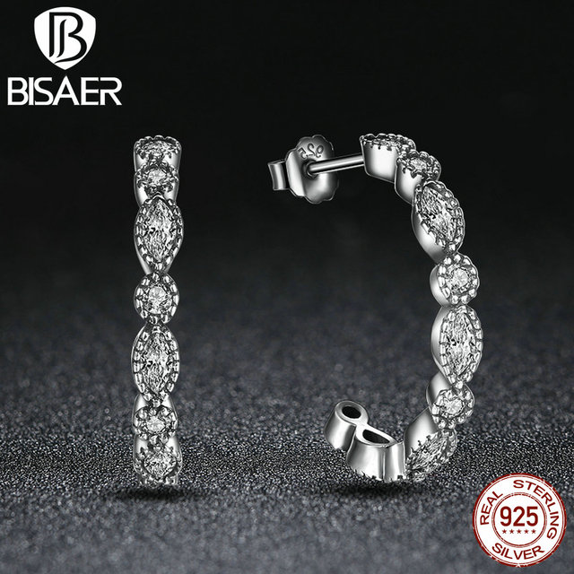 3289dbac9 BISAER 925 Sterling Silver Alluring Brilliant Marquise CS Stud Earrings  Engagement Jewelry Brincos HJS486