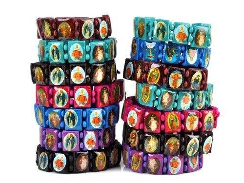 50PCS/lot Wood Corded Rosary Coloured Beads Bracelet Religious Gift Childrens Rosaries Bracelet Free Shipping