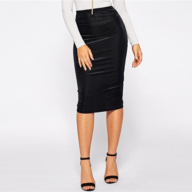 black elastic 60s skirt