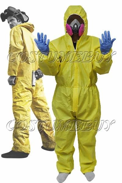 Breaking Hazmat Lab Walter Wit Jumpsuit Kostuum Met Half Masker Handschoenen