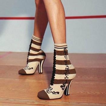 Embroider Knit Sock Boots Women Mid-Calf Round Toe Striped High Heel Boots Strange Heel Women Winter Warm Boots SWE0067