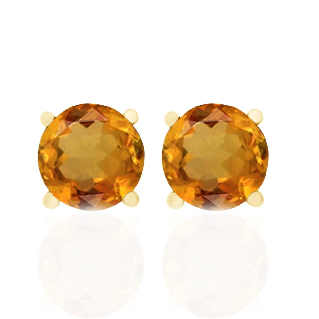 1.40 Ct Round Cut Citrine 18K Yellow Gold Over S/Silver Push BacK Stud Earrings все цены