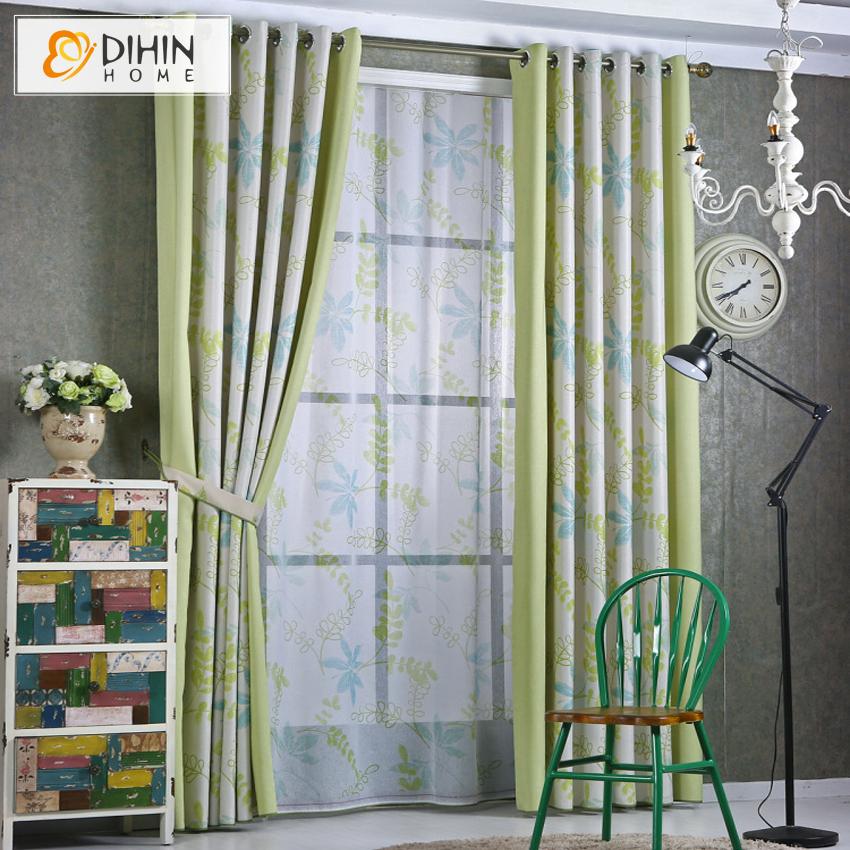 dihin unid cortinas ventanas cortinas semiopacas frescura rural rbol diseo sheer cortinas