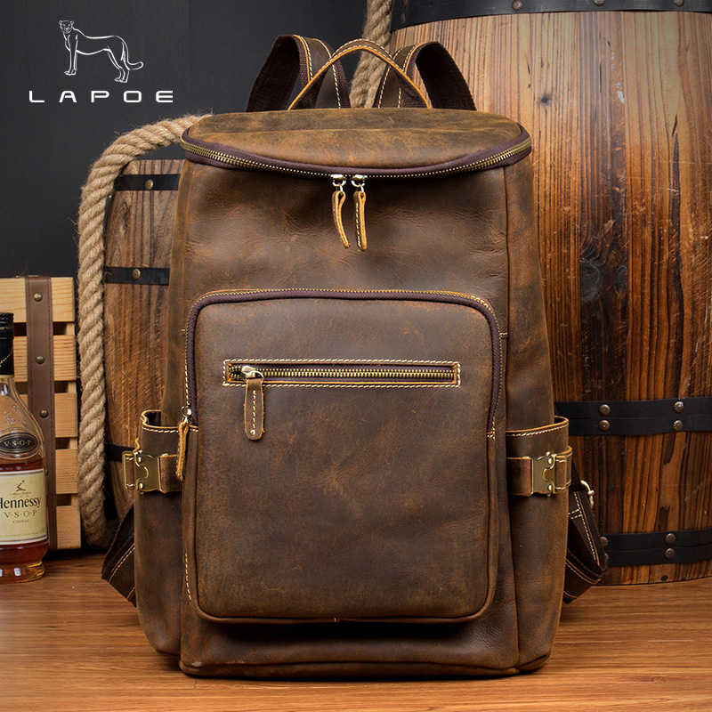 цены Vintage Men Fashion Pockets Backpack Crazy Horse Genuine Leather Double Shoulder Bag Large Travel Backpack Rucksack Satchel Bag