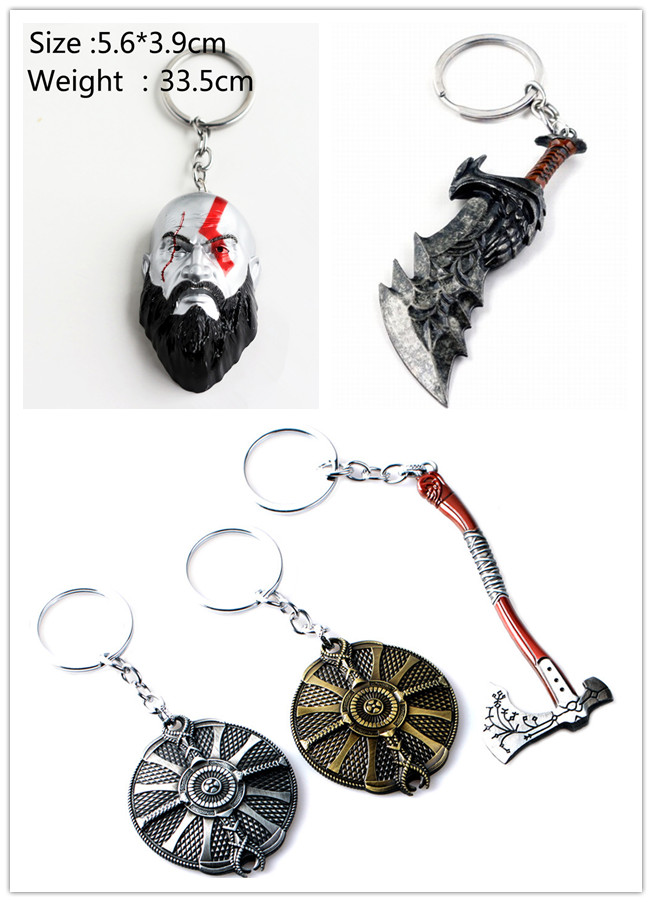God Of War Kratos Sword Blades Of Chaos Leviathan Axe Shield Keychain Toy Dolls Weapon Keychain Kratos Model Mask Pendant