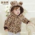 Baby Clothing 2015 Девушки Мода Leopard Лук Утолщаются Хлопка-Проложенный Одежды Пальто Младенца Дети Случайный Ватные Куртки Верхняя Одежда G180