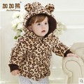 Baby Clothing 2015 Girls Fashion Leopard Bow Thicken Cotton-Padded Clothes Coat Infant Kids Casual Wadded Jacket Outerwear G180