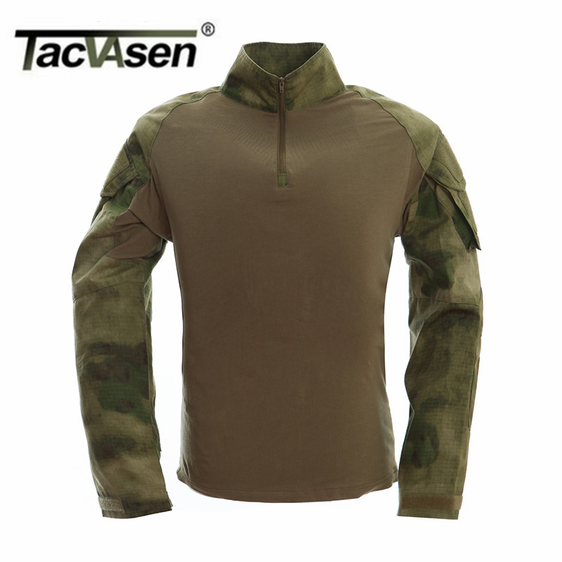 TACVASEN New Autumn Winter Soldier T shirts Army Combat Tactical T Shirt Military Men Long Sleeve