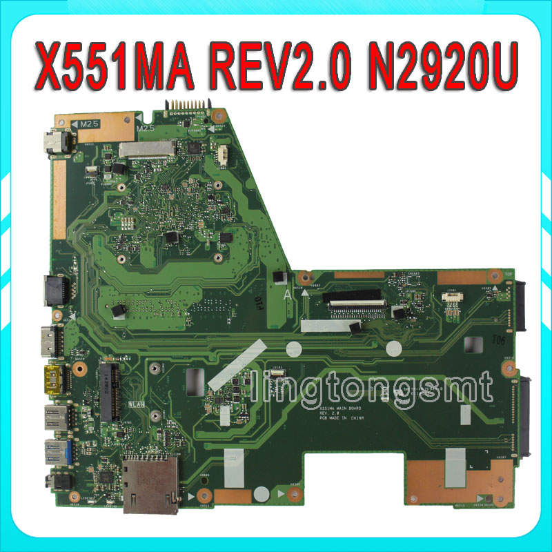 X551MA For ASUS Laptop Motherboard N2920U X551MA REV2.0 motherboard 100% fully tested 60NB0480-MB2200-201 laptop motherboard for asus eee pc 1005ha 1001ha intel ddr2 slb73 60 oa1bmb5000 a02 08g2005ha13q fully tested