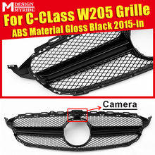W205 Grille Mesh ABS Material Black AEAMG Style Grill Fit For Sport C180 C200 C250 C300 C350 Front With Camera 2015+
