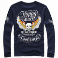 Men's Happy Skull Ride Free Motorcycle Harley T-Shirts Tattoo Art Slim Fitted Hip Rock 100% Cotton Long Sleeve Print Tops Tees