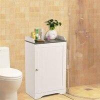 White Finish Sturdy Wood Board Bathroom Freestanding Storage Cabinet Single Door Adjustable Shelves Black Marble Top HW57076