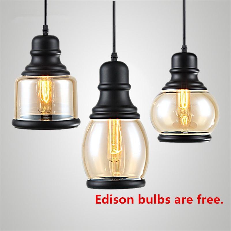 Vintage americké průmyslové světla E27 Edison žárovka závěsné lampy Retro železné sklo závěsy svítidlo Luster De Techo Colgante