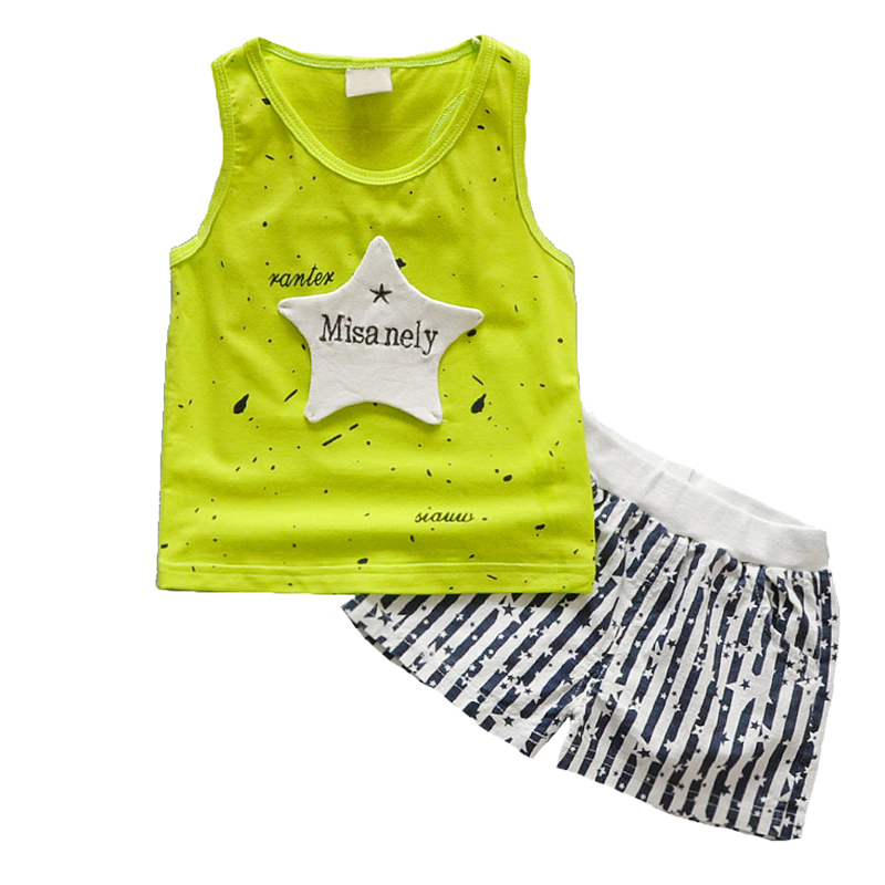 2017 Summer Boys Clothing Sets Tank Top + Shorts Sleeveless Childrens Boy Clothe
