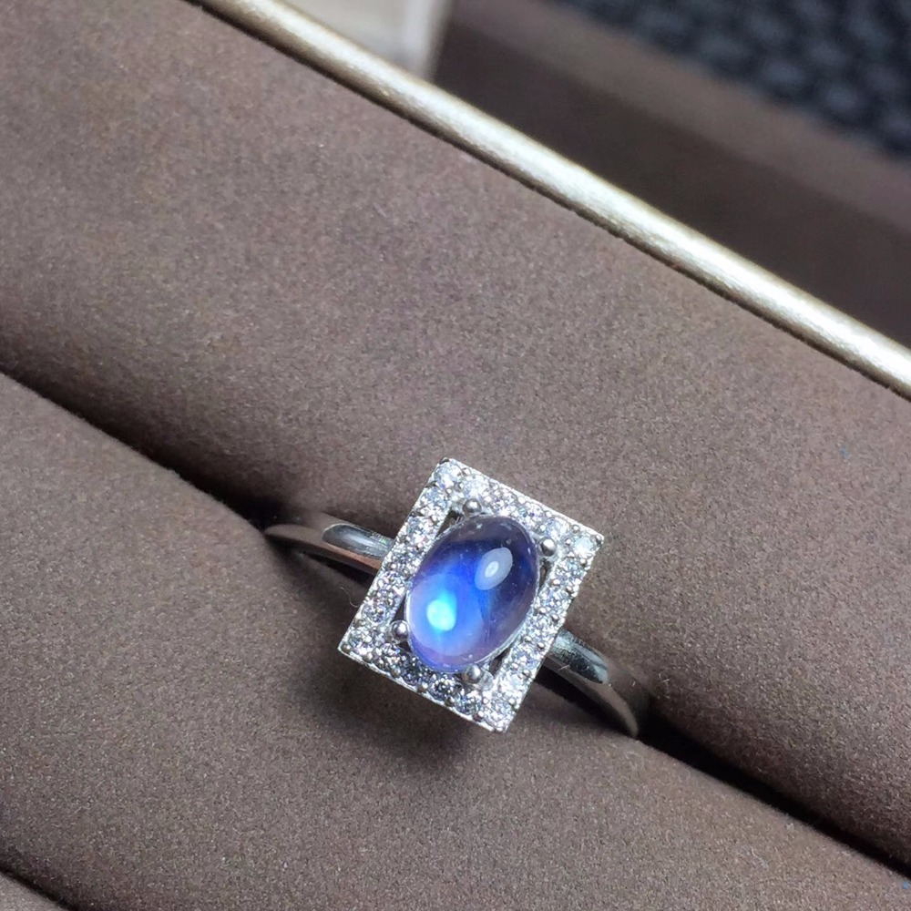 Uloveido Simple and Refined Latest Design Natural Blue Moonstone Ring 925 Sterling Silver Square Wedding Rings FJ378