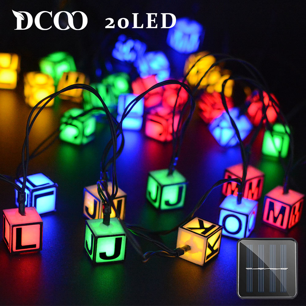 Dcoo Solar LED String Lights 8 Modes 20 LEDs Letters Fairy Lights - Buitenverlichting