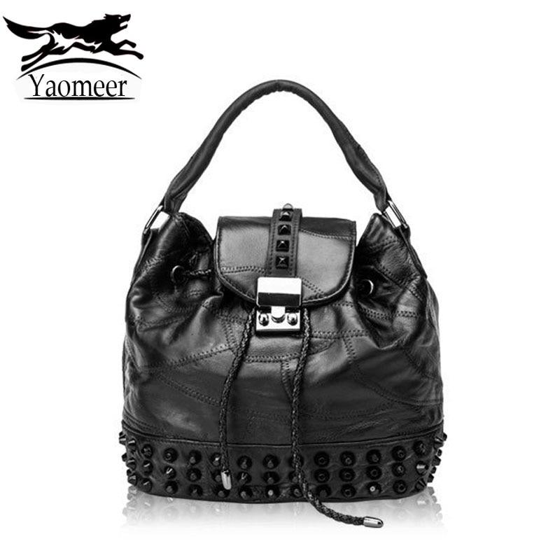 Famous Brand Women's Genuine Leather Bags Black Rivet Handbags Vintage Women Bag Sheepskin Shoulder Messenger Bags Female Tote