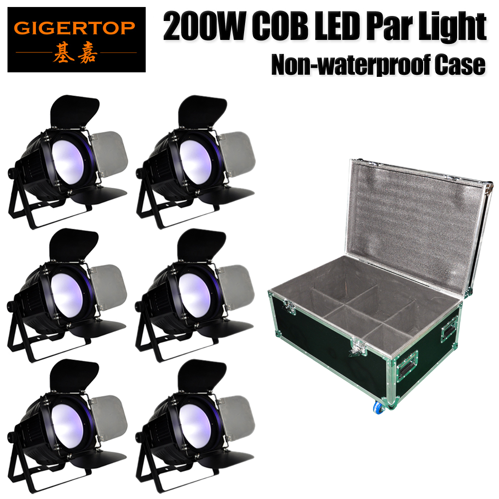 Freeshipping 6in1 Roadcase with Wheels 200W COB Led Par Cans Cold White/Warm White/RGBW/RGBWA UV Color Mixing for Stage/theater splicing 2 light led blinders with 100w led cob x2 amber cold white color for audience blinding color warm