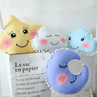 Cartoon Smile Star Cloud Shape Cushion Pillow With Tassels Calm Sleep Dolls Kids Bed Room Decor