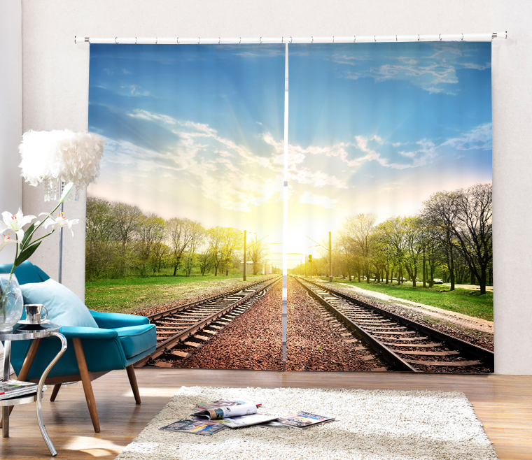 Train railway landscape Curtains 3D Photo Printing Blackout For Window Living Room Bedding Room Hote Office Sofa Decoration