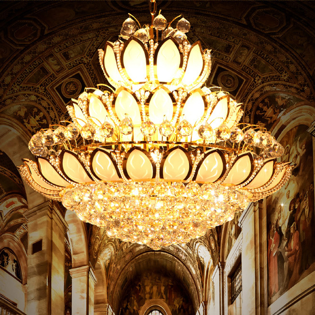 Led gold crystal chandeliers lights fixture lotus flower crystal droplights hotel parlor foyer restaurant home indoor