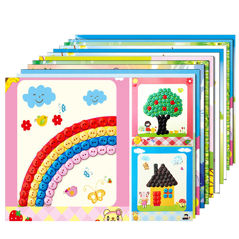 12pcs/lot Button Puzzle Stickers Handmade DIY Toys For Children Montessori Speelgoed Brinquedo Brinquedos Juguetes Oyuncak 15(China)