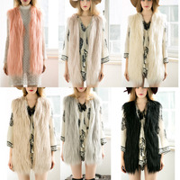 Fashion Winter Women Faux Fur Long Vest Warm Coat Gilet Vest Ladies Girls Casual Cardigan Vests Waistcoat Plus Size -MX