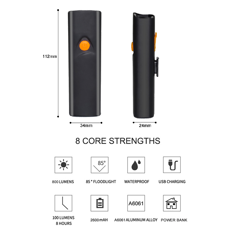 18650 2600mAh Power Bank 800 Lumens 5 Modes USB Rechargeable LED Bicycle Light Front Handlebar Waterproof Bike Flashlight