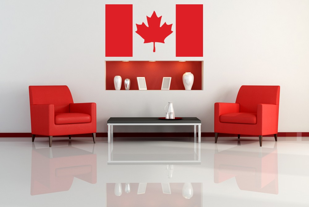 Canadian Flag Wall Decal Living Room Decoration Patriotic Maple Leaf Wall Stickers Vinyl Art Mural Waterproof