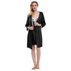 Image 2 - Fiklyc merk volledige mouw sexy vrouwen robe & gown sets kant bloemen satijn vrouwen pyjama sets nachthemd + badjas homewear hot