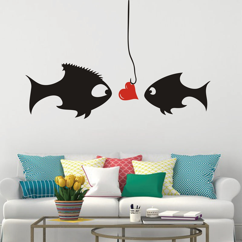 "Living Room Background Animated: ""Cartoon Kissing Fish"" Romantic Wedding Room Bedroom"