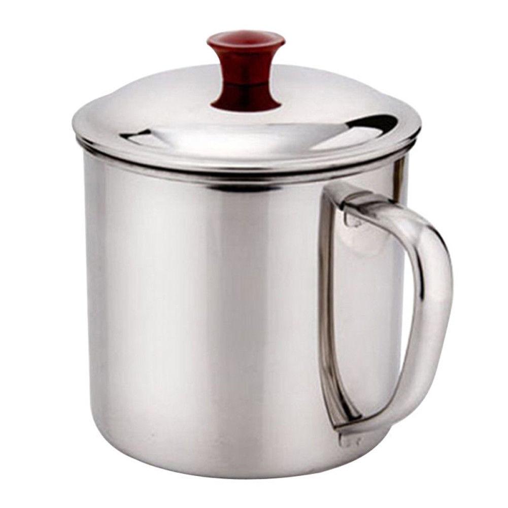 Stainless Steel Travel Camping Mug Drinking Beer Coffee Tea Handle Cup 480ml New
