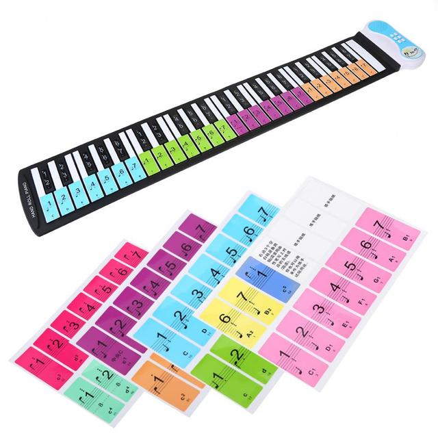 49fa261f43b Removable 88 Keys Piano Sticker Electronic Keyboard Note White Keys Sticker  Labels for Beginners