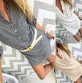 Plus XL Size Women's winter single breasted button Long Sleeve knitted Long sweater V Neck Casual Pullovers Tops dress