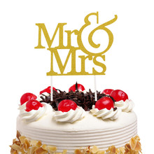 20pcs/lot Mr & Mrs Cake Topper Love Wedding Flags Glittler Engagement Party Baking Decor