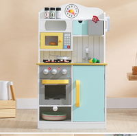 Play House toys Kitchen Toys Children Play house Toys Blue Large Kitchen Cooking rice Simulation Table Model Utensils Toy
