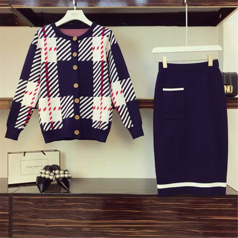 Unique Poitrine Col Rayée Kaki Haute Deux Tricot bleu Loisirs Automne Taille Femmes Tricoté Hiver Pièces Cardigan Jupe 2018 Rond Tenues En BXwfIqS