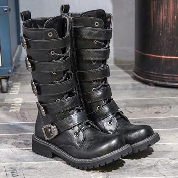 Indestructible Shoes Military Boots 2018 Black Leather High Boots Men Rubber Sole Zipper Non-slip Shoes Male Desert Boots 38-46