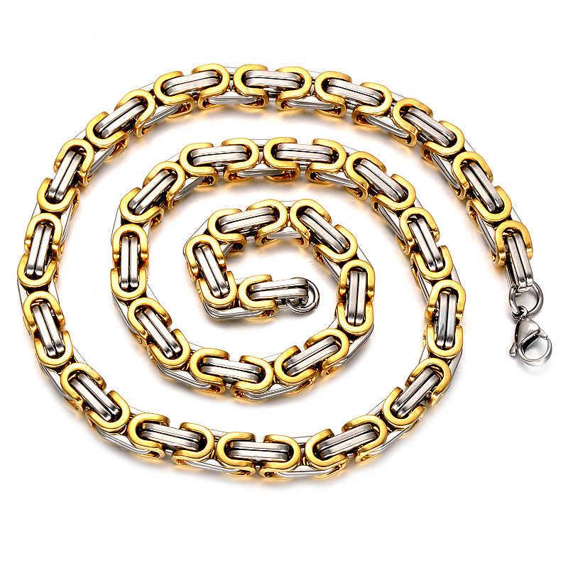 """AMGJ 4-7mm szerokość bizantyjski naszyjnik łańcuch dla mężczyzn Hip Hop Rock złoty skrzynka ze stali nierdzewnej łańcucha Link naszyjnik biżuteria 22"""""""