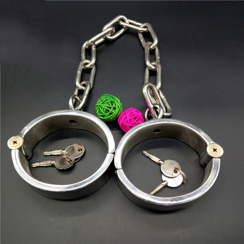 oval metal leg cuffs sex BDSM stainless steel bondage fetish adult sex toys for couples slave metal lagcuffs Chain length 38cm