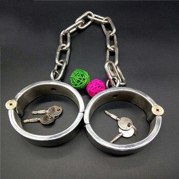 oval metal leg cuffs sex BDSM stainless steel bondage fetish adult sex toys for couples slave metal lagcuffs Chain length 38cm
