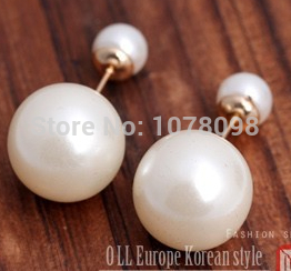 2017 Hot Fashion Double Sides simulated pearl Stud Earrings for Girls gold Color ITALINA Beads Jewelry