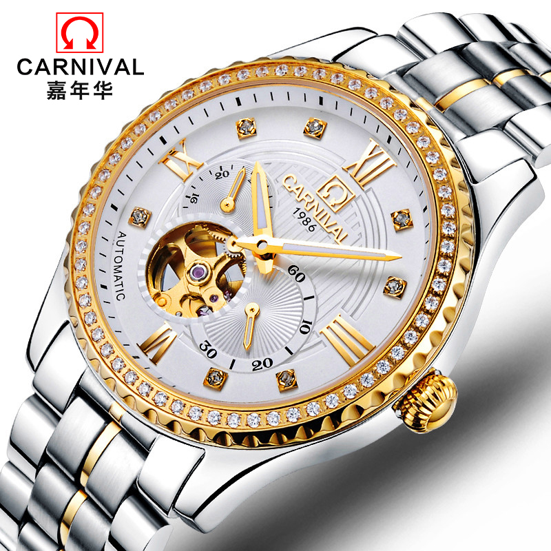 все цены на CARNIVAL New Luxury Dress Men Automatic Mechanical Watches Stainless Steel Waterproof Hollow Diamond Men Wristwatch reloj hombre онлайн