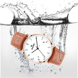 Image 3 - スウィッシュ 2020 男性超薄型腕時計革ステンレス鋼クォーツ時計 30 メートル防水ブラウンレザー腕時計