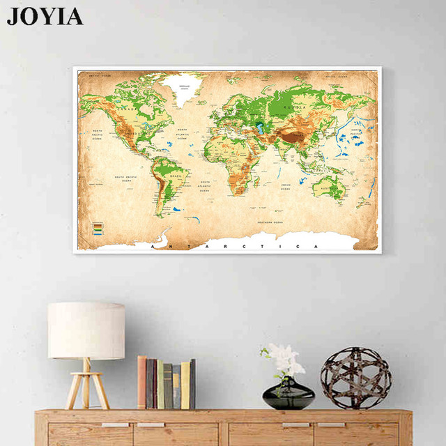 World Map Canvas Art Ancient Maps Antique Topography Posters Prints ...