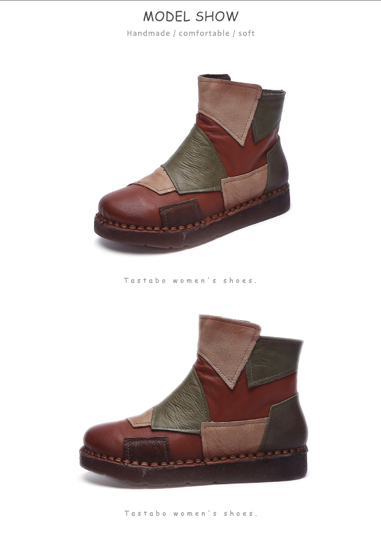 Tastabo Mixed Color Handmade Real Genuine Leather Women's Shoes