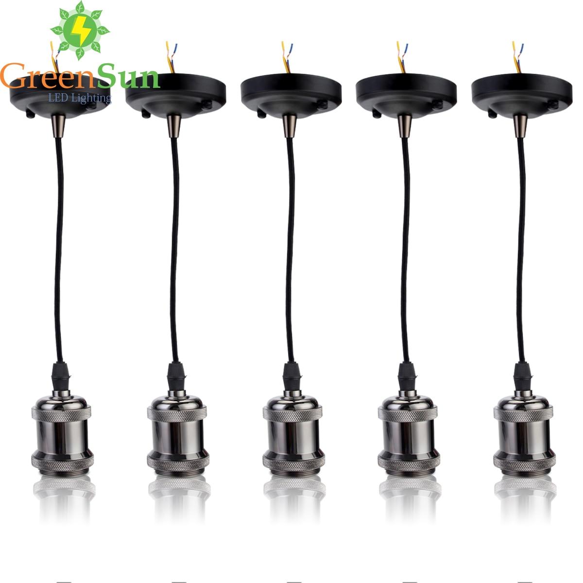 GreenSun 5Pcs Pearl Black E27 Aluminum Retro Screw Bulb Base Pendant Light Holder Set Ceiling Rose Light Socket With 1.35M Cable laptop battery for asus x552 x552cl x552e x552ea x552ep x552l x552ld x552vl x552la 15v 2950mah 44wh li ion oem
