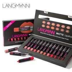 Maquiage brand 12pcs/lot lip kit matte Lipstick Waterproof Nutritious Velvet lip stick Red Tint Nude batom makeup set