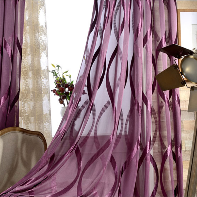 Purple Wavy Striped Tulle Curtains For Living Room Shiny Modern Liner Flocked Sheer Curtain Bedroom Voile Window Treatments